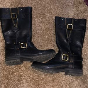 ankle/calf high black buckled boots